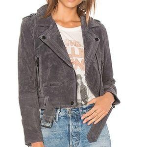 Grey Suede Moto Jacket BLANKNYC Size Small